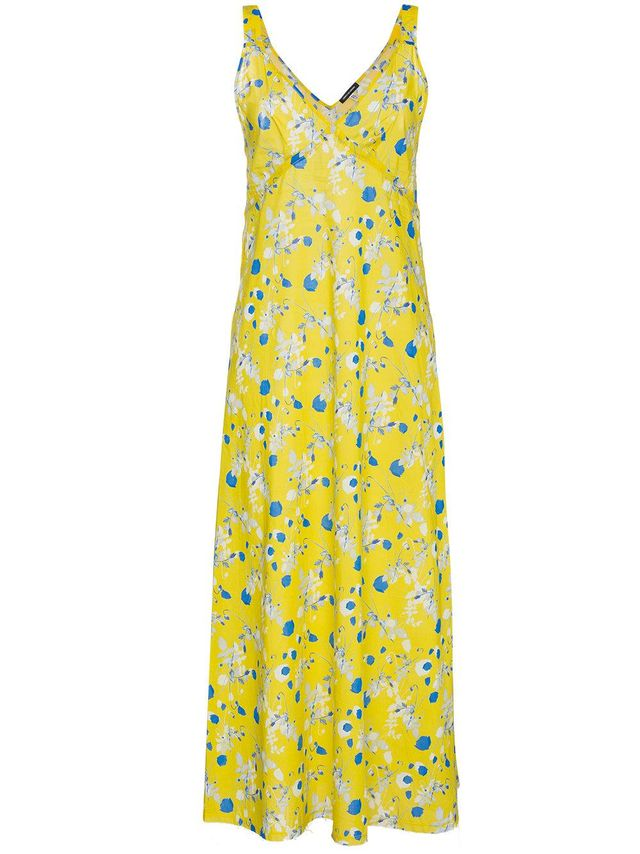 sleeveless floral print long slip dress