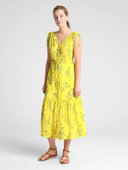 Womens Sleeveless Floral V-Neck Tiered Midi Dress Mini Yellow Floral