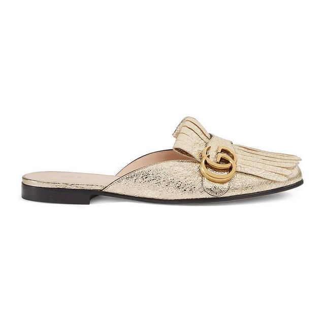 Marmont metallic laminate leather slipper