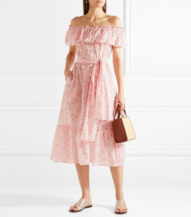 Mira Off-the-shoulder Printed Cotton-voile Midi Dress