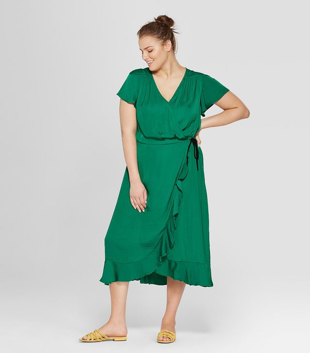 Who What Wear Short Flutter Sleeve Wrap Midi Dress