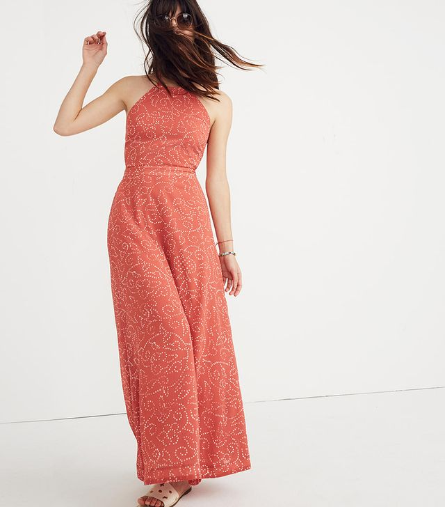 Madewell Halter Tie-Back Midi Dress in Twisted Vines