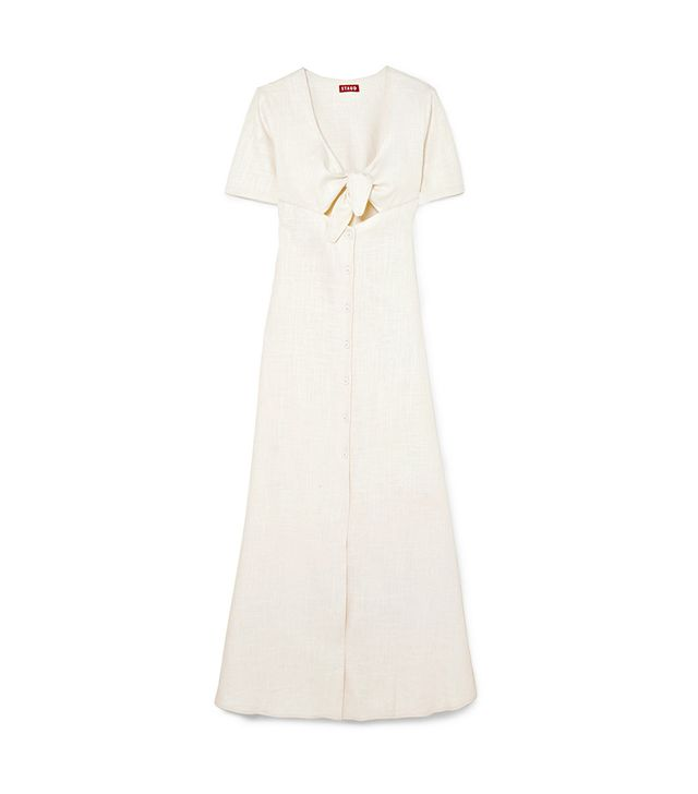 Maya Tie-front Linen-blend Maxi Dress