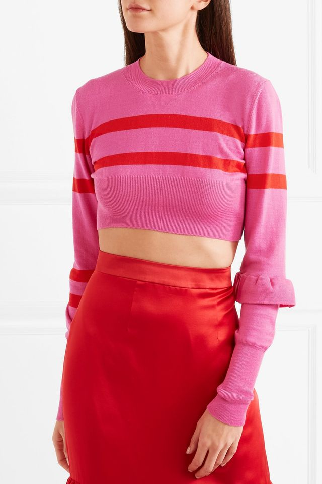 Maggie Marilyn The Believer Cropped Striped Merino Wool Sweater
