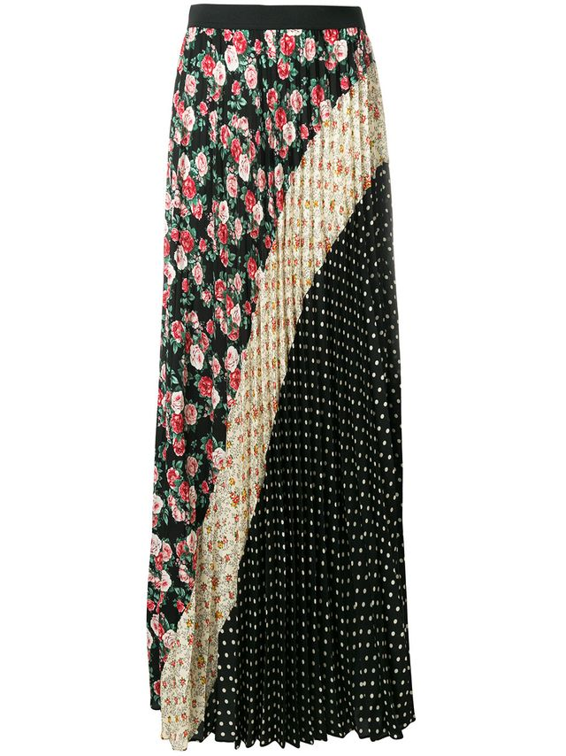 P.A.R.O.S.H. Floral and Polka Dotted Pleated Skirt