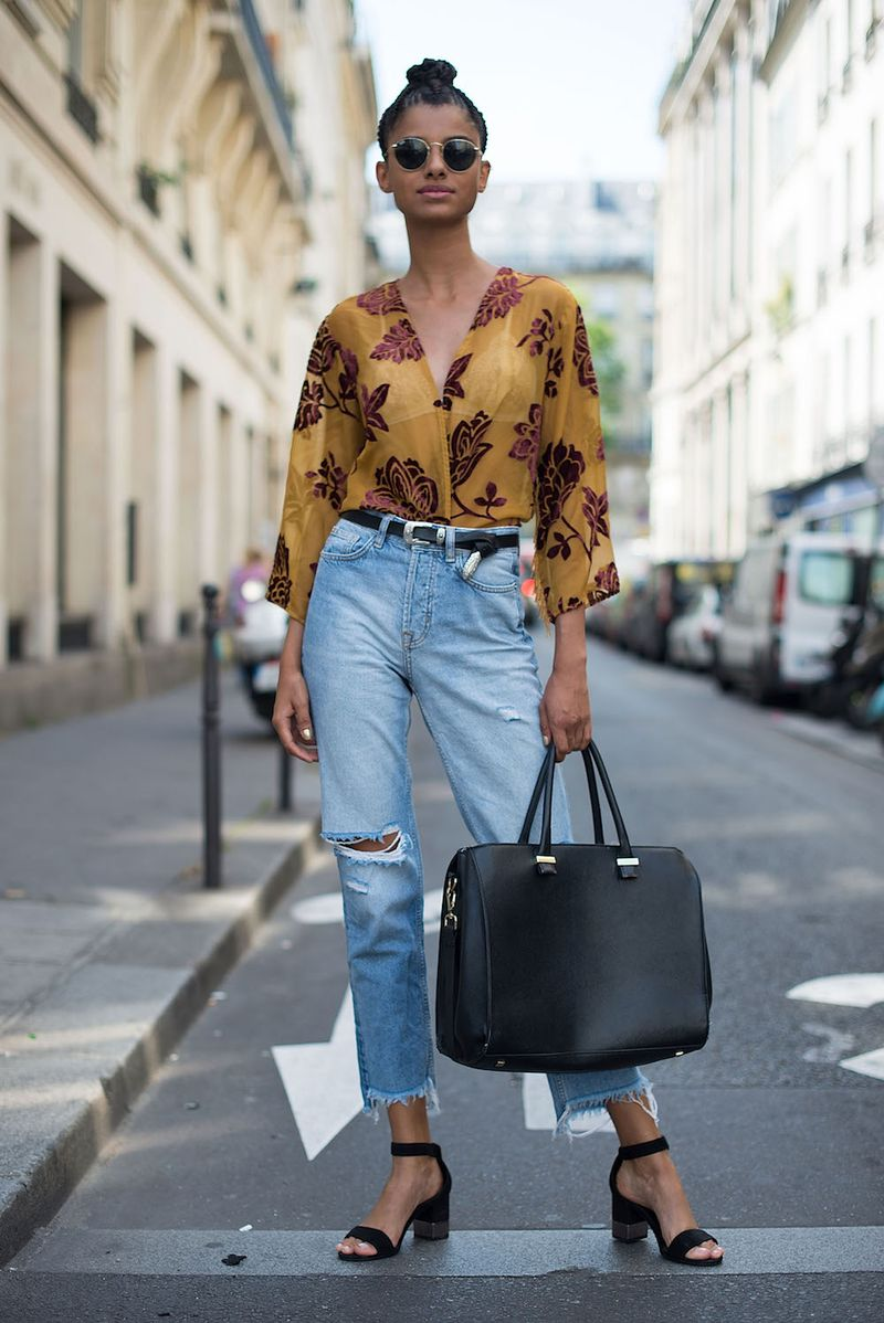 d592d0b73a A V-neck blouse and polished accessories elevate lightly distressed denim.  Up next