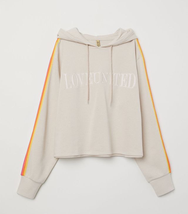 - Hooded Top with Text Motif - Light beige/Love United - Women
