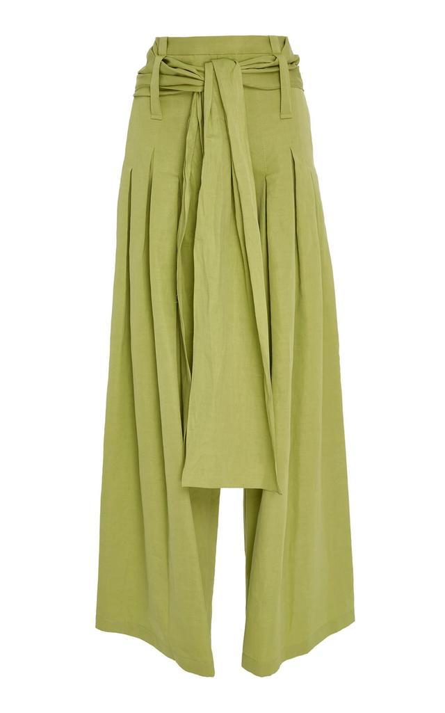 Pleated Cotton-Blend Pants with Sash Belt