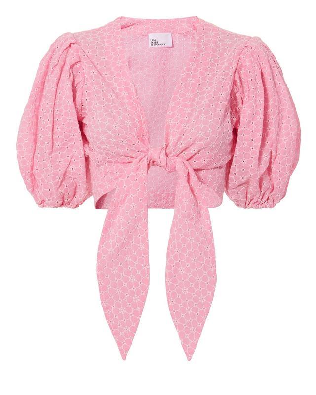 Lisa Marie Fernandez Daisy Eyelet Tie-Front Crop Top Pink 1
