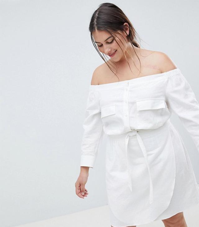 ASOS DESIGN Curve Off Shoulder Linen Mini Dress With Belt Detail