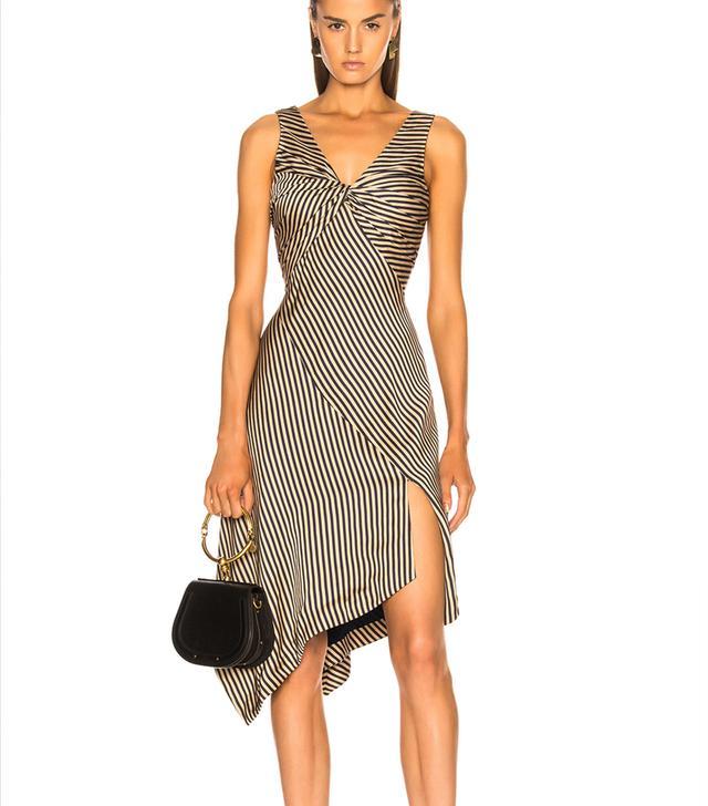 Jonathan Simhkai Striped Twist Midi Dress