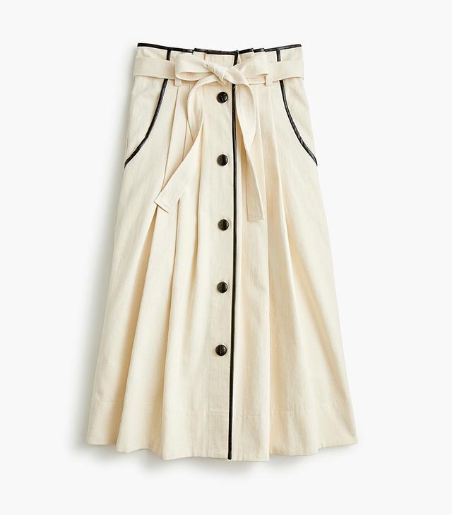 Pleated Cone Denim midi skirt