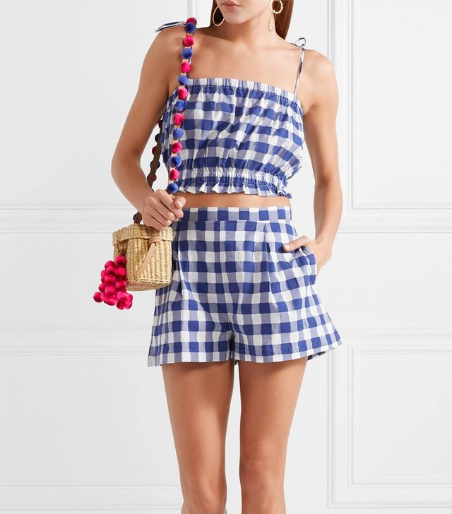 Cropped Gingham Fil Coupé Cotton Top