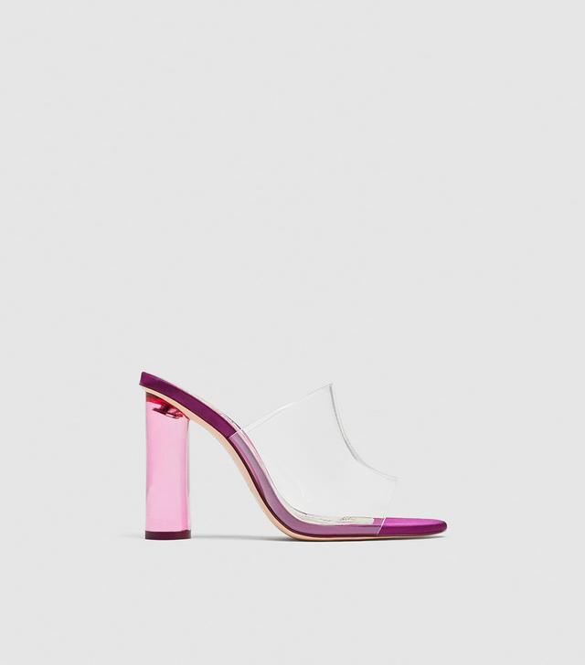 Zara Vinyl Mules With Methacrylate Heels