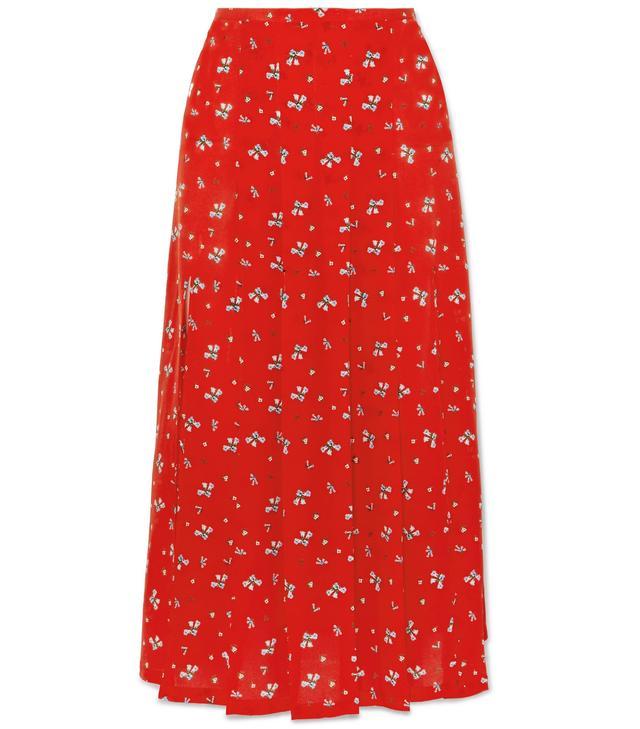 Georgia Pleated Floral-print Silk Crepe De Chine Midi Skirt