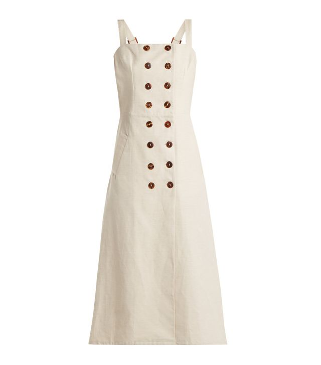 Monica cotton and linen-blend dress