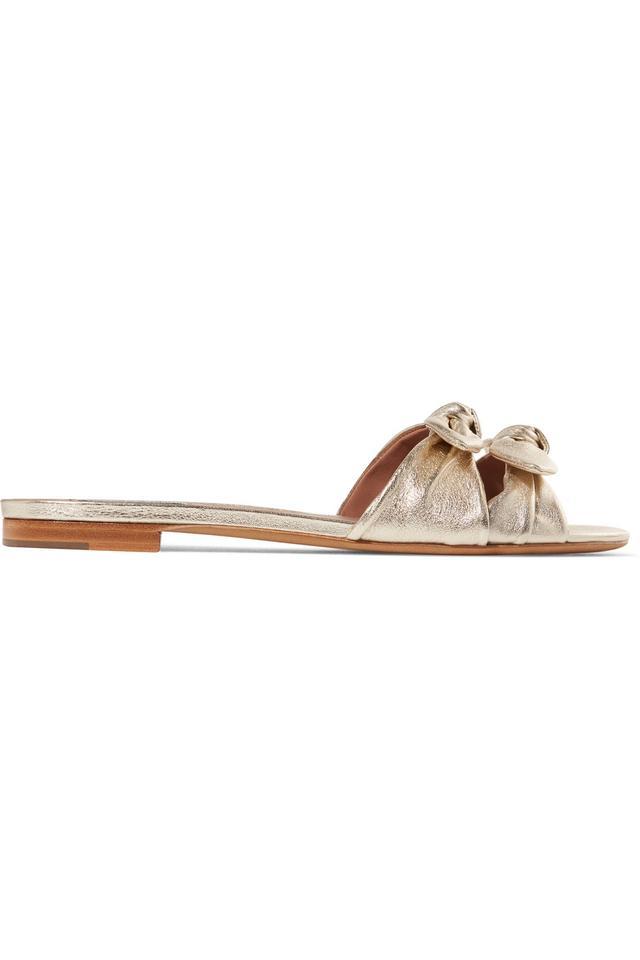 Cleo Bow-Embellished Metallic Leather Slides