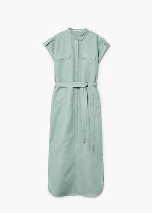 Linen belted maxi dresses