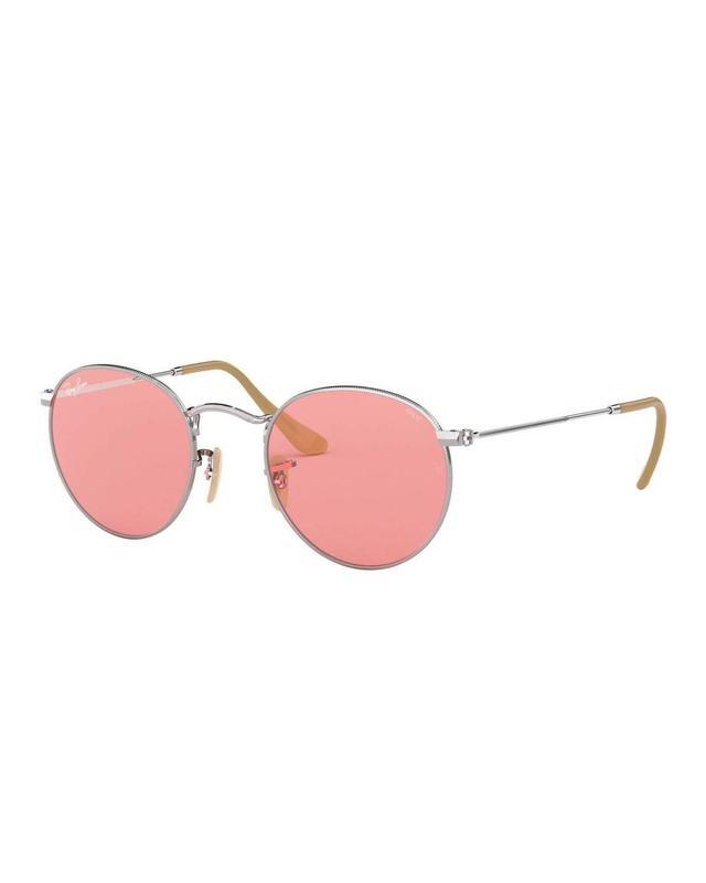 Round Monochromatic Metal Sunglasses