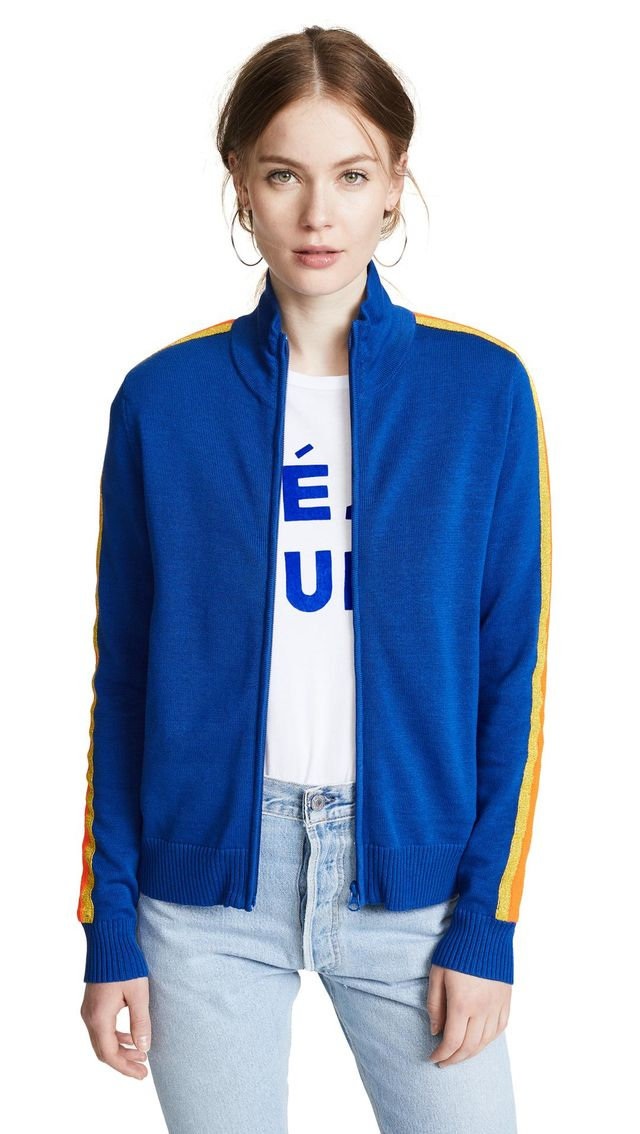 Track Jacket with Metallic Stripes
