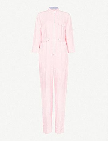 Straight-leg twill jumpsuit