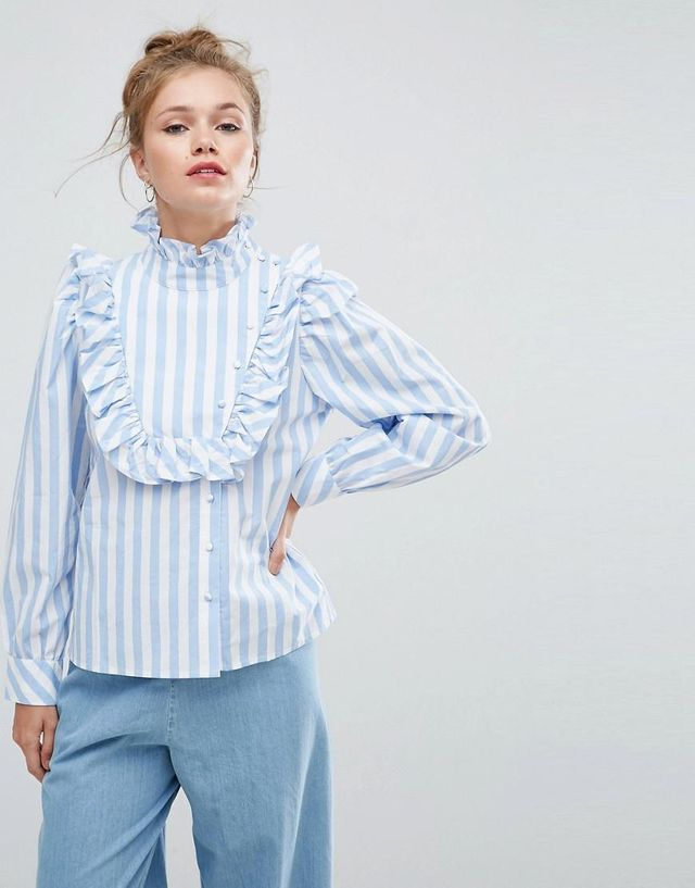 Stripe Shirt with Ruffle Bib