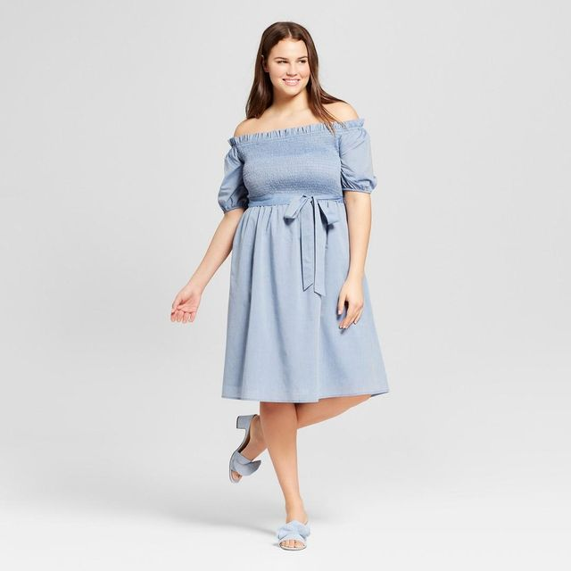 Plus Size Short Sleeve Smocked Dress