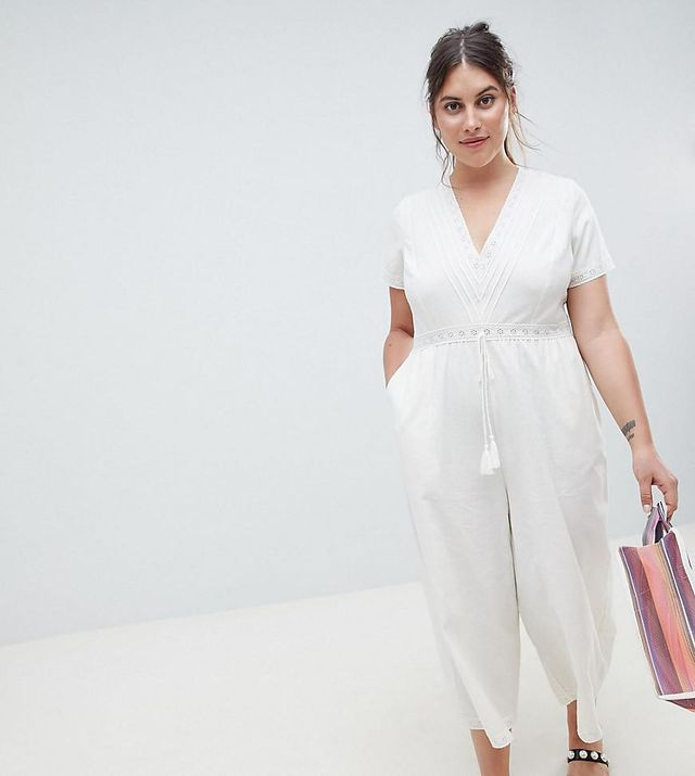 ASOS DESIGN Curve Cotton Embroidered Jumpsuit With Tassel Trim