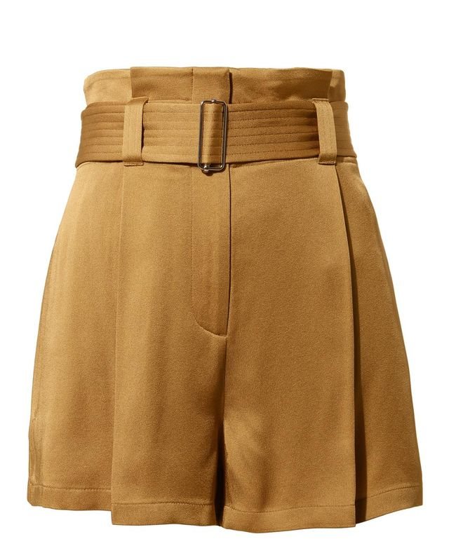 A.L.C. Deliah Belted Satin Shorts Brown 2
