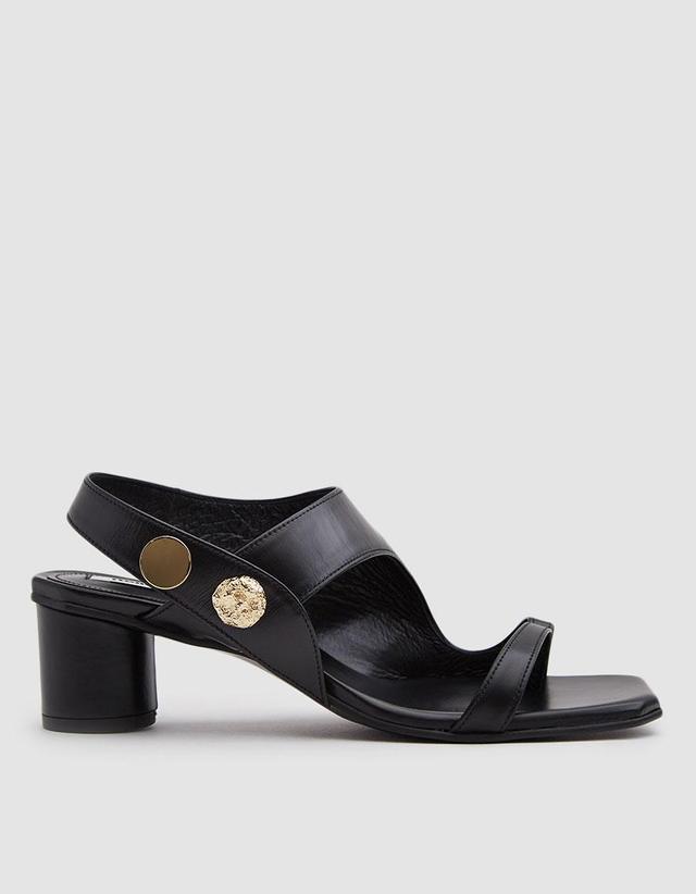 Curved Middle Flip Flop in Black