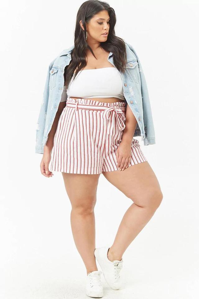 Plus Size Linen-Blend Striped Shorts