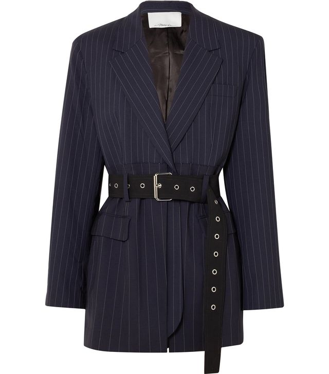 Oversized Belted Pinstriped Wool-blend Blazer