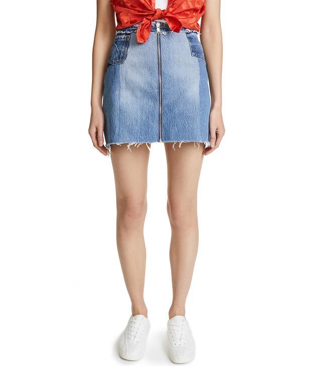 Raw Edge Zip Skirt
