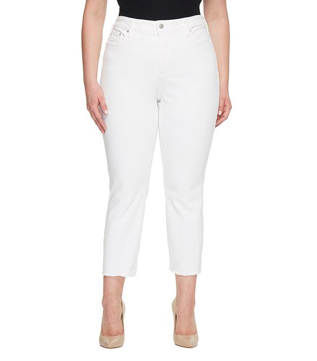 NYDJ Sheri Slim Ankle Jeans With Fray Hem in Optic White