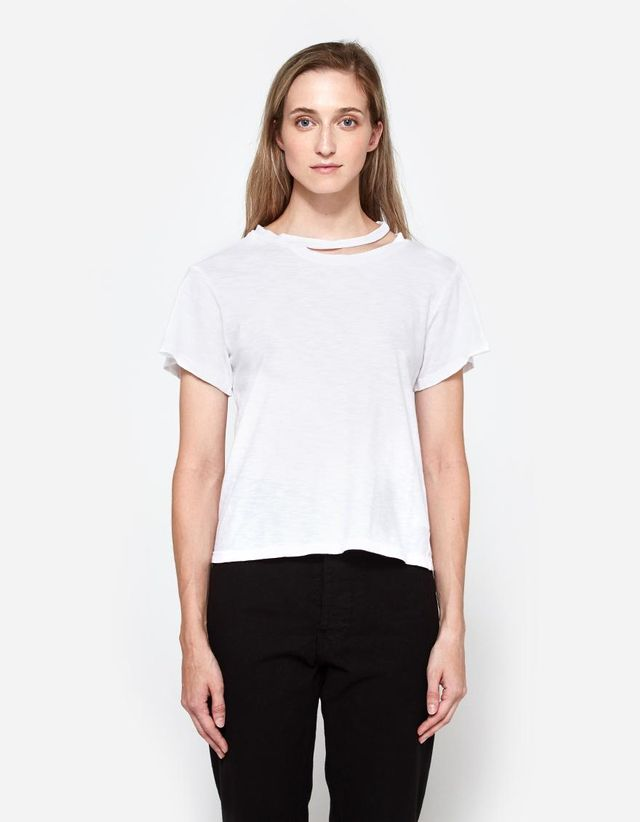 Double Neck Band Tee in White