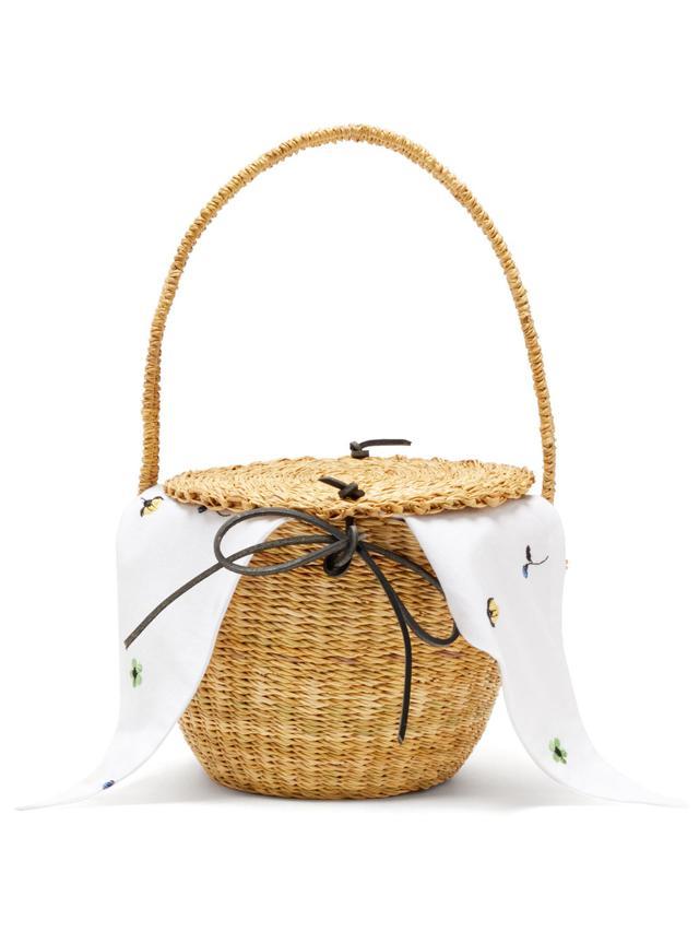Muuñ Lou Myoso Woven-Straw Bucket Bag