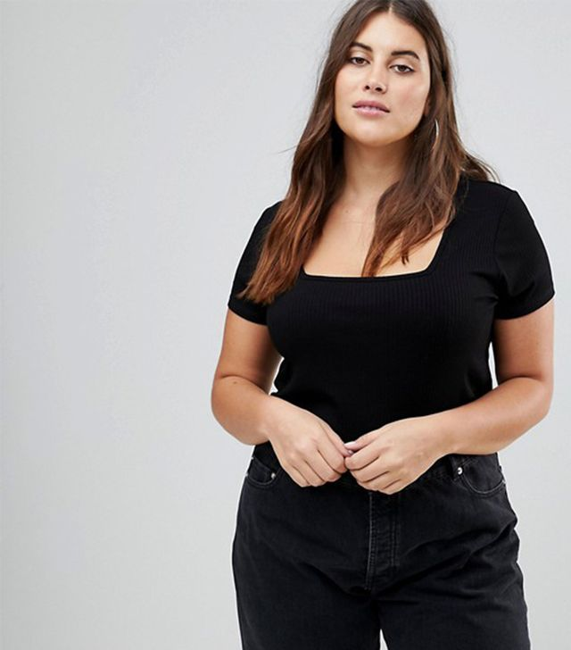 ASOS CURVE T-Shirt with Square Neck in Fancy Rib