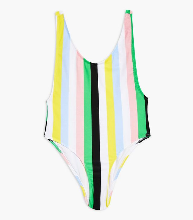 Topshop Striped Scoop Swimsuit