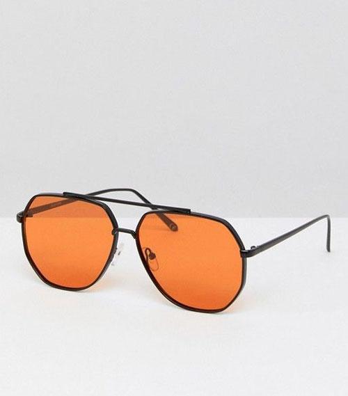 Black Metal Aviator Fashion Sunglasses With Orange Lens
