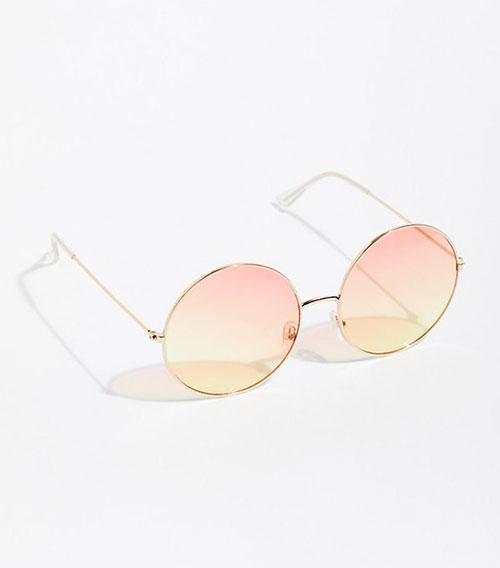Round Orange Lens Sunglasses