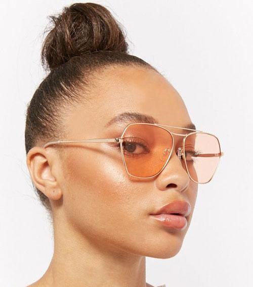 Angled Orange Lens Sunglasses