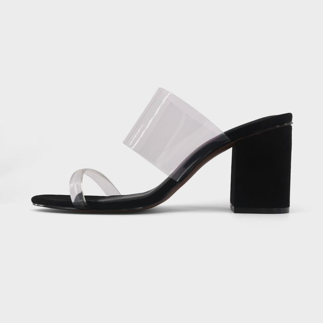 Rumor Translucent Heeled Slide Sandals