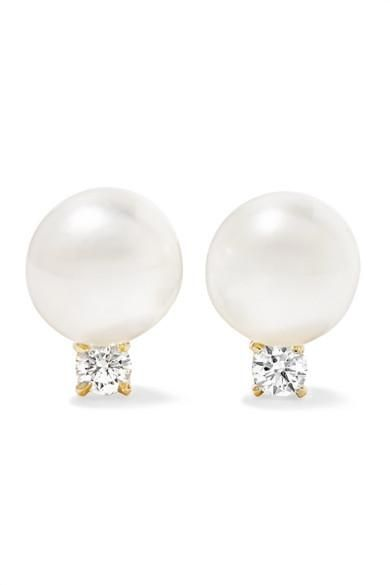 18-Karat Gold, Pearl, and Diamond Earrings