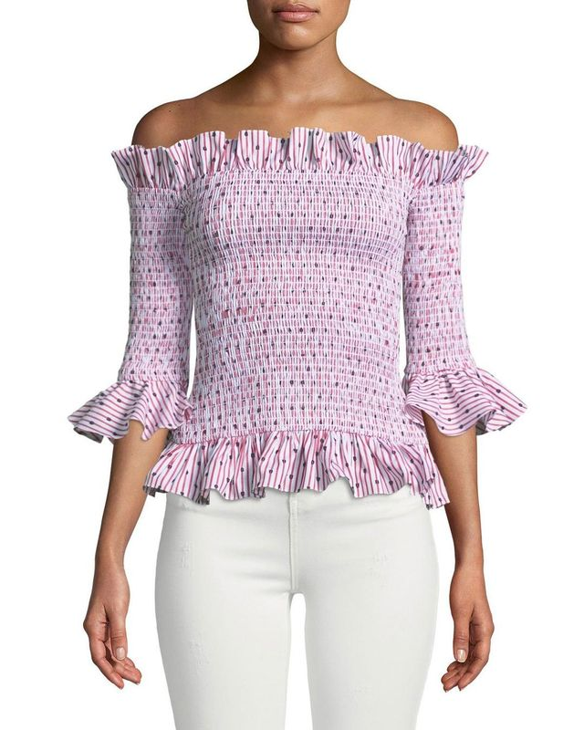 Calida Smocked 3/4-Sleeve Ruffle Top