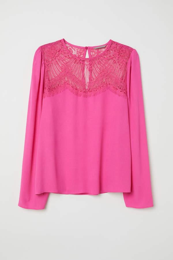 Blouse With Lace Yoke