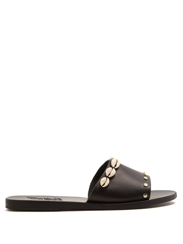 Taygete shell-embellished leather slides