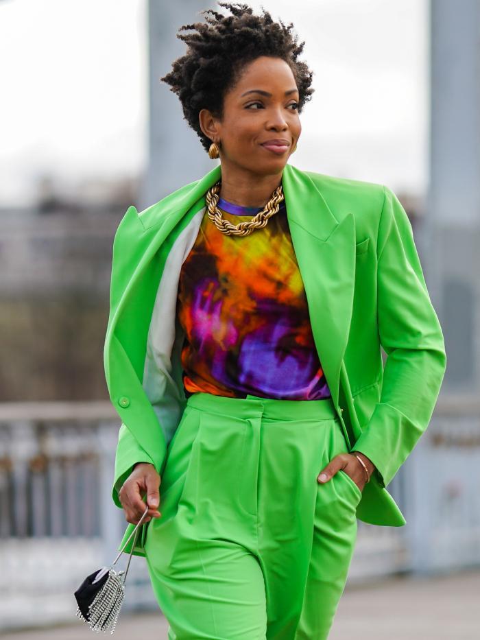 tie-dye trend: ellie delphine of slip into style wearing tie dye