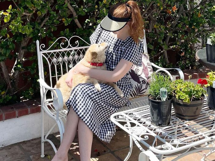 Erin Fitzpatrick wearing a Who What Wear x Target gingham dress