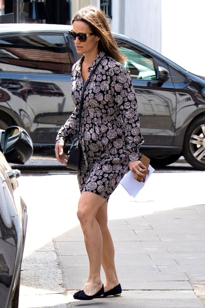 Pippa Middleton wearing a printed maternity dress from Seraphine