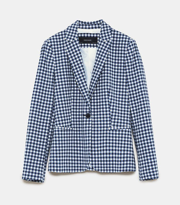 Zara Gingham Check Blazer